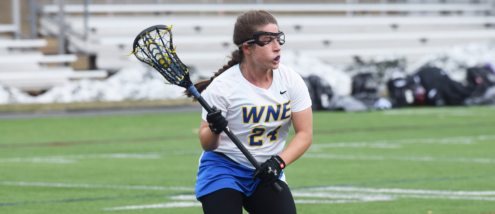 Freshman Ashley Hudson totaled five points in Western New England's CCC-opening victory over Curry on Tuesday. (Photo by Rachael Margossian)