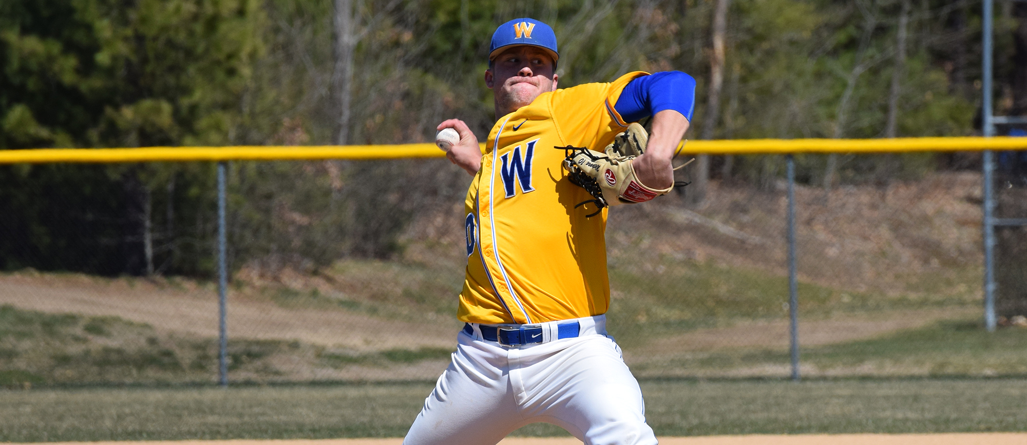 Junior Paul Wetmore threw a complete game, one-hit shutout in game two as Western New England earned a sweep at Gordon on Saturday. (Photo by Rachael Margossian)