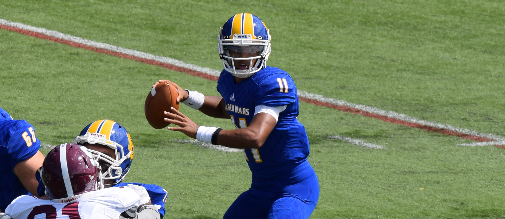 Senior quarterback Anthony Service completed 19-of-24 pass attempts for 288 yards and four touchdowns in Western New England's 38-6 win at Westfield State on Friday night.