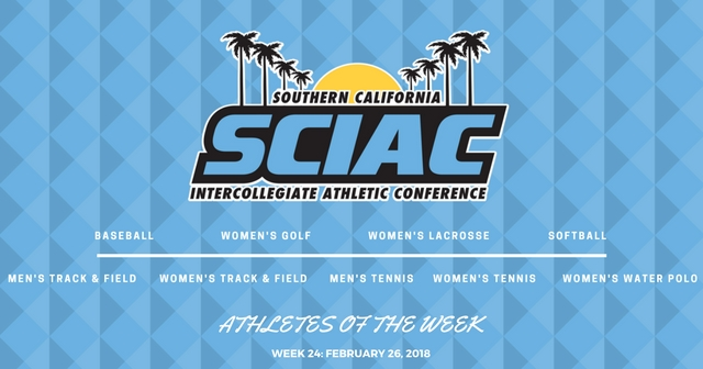 SCIAC Athletes of the Week: February 26, 2018