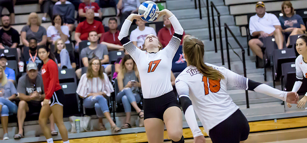 Emily Lawless finished with 17 assists and seven digs against Georgia College (photo by Chuck Williams)