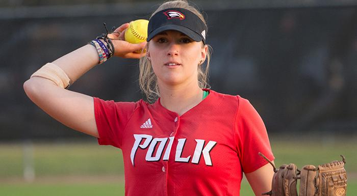 Kacie Booth is this week's NJCAA Region 8/FCSAA Softball Player of the Week. (Photo by Tom Hagerty, Polk State.)