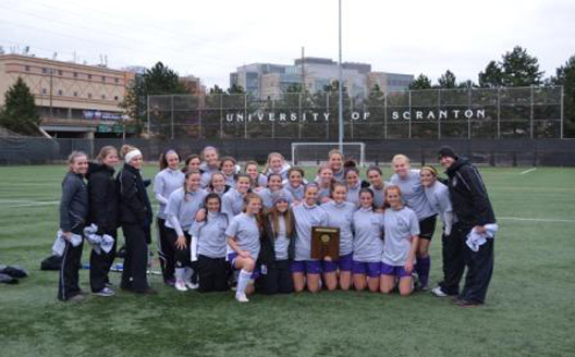 The Royals won their third straight and fourth Landmark Conference women's soccer championship in six years with a 2-0 victory over Moravian College on Sunday afternoon at Fitzpatrick Field. With the win, Scranton advances to the NCAA Division III championships for third straight year and for the 14th time in the program's history.