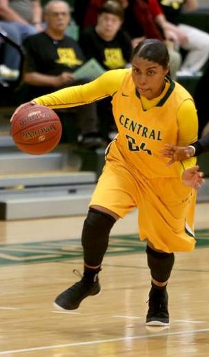 Alexis Vaughn drives in an earlier game this season. Central loses the first CSN Holiday Tournament game to SLCC 58-49.