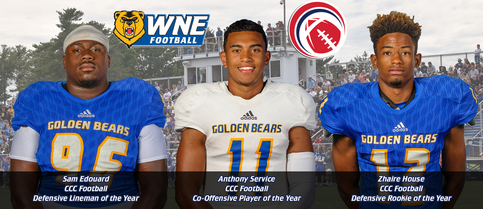 Edouard, Service & House Receive Major Awards; 14 Other Golden Bears Earn All-CCC Football Honors