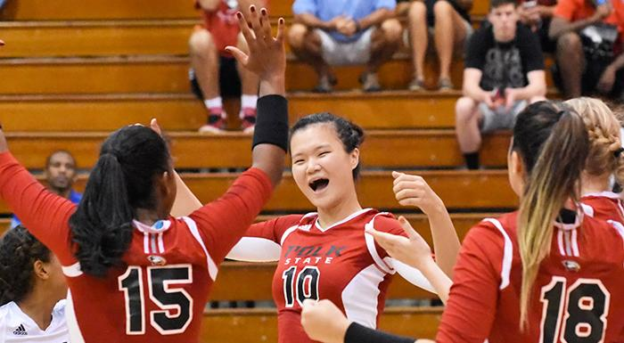 Yue Wu (10) was named Volleyball Player of the Week for the second straight week. (Photo by Tom Hagerty, Polk State.)