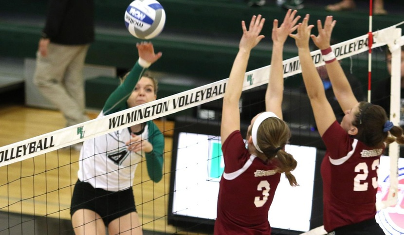 Copyright 2018; Wilmington University. All rights reserved. File photo of Mandy Behiels who led the team with 13 kills at Chestnut Hill. Taken by Frank Stallworth in 2017.