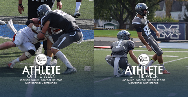 Jackson Buskirk '21 named Centennial Conference Co-Defensive Player of the Week and Jon Miller '19 named Centennial Conference Co-Special Teams Player of the Week.