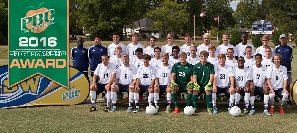 Fifth year in a row for GSW to be acknowledged with the Peach Belt Conference Men's Soccer Team Sportsmanship Award.