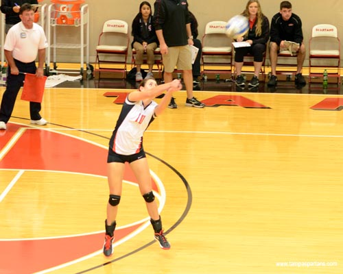 Senior Holly Reschke posted a double-double with 13 kills and 14 digs