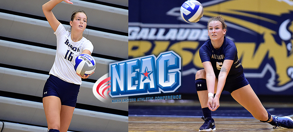 Karita Lewis (left) and Adele Daniels (right) pictured playing volleyball for Gallaudet. Lewis is about to serve the ball. Daniels makes a dig. A NEAC logo is in the middle of the image.