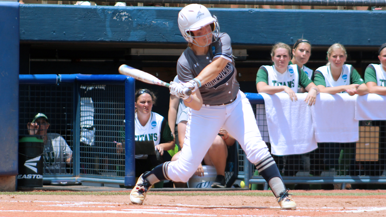 Madison Glaubke belted a solo homer in the Marlins 6-1 win over IWU in game one of the best-of-three championship series.