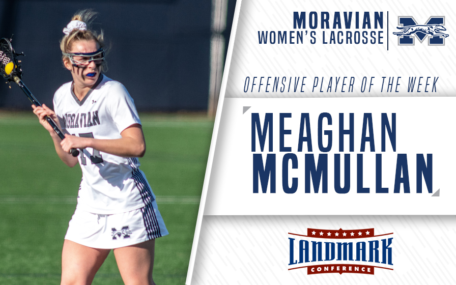 Meaghan McMullan honored as Landmark Conference Women's Lacrosse Offensive Athlete of the Week.