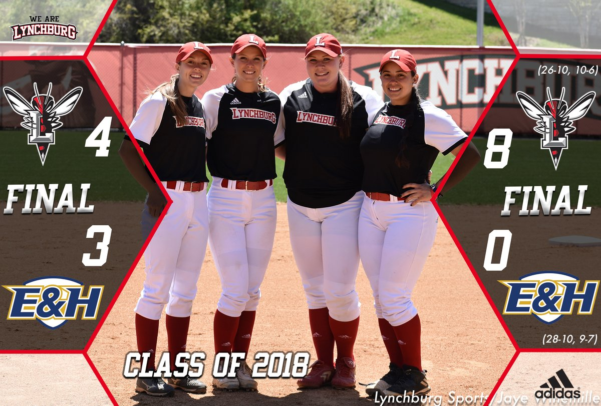 Lynchburg's four seniors pose before the game.