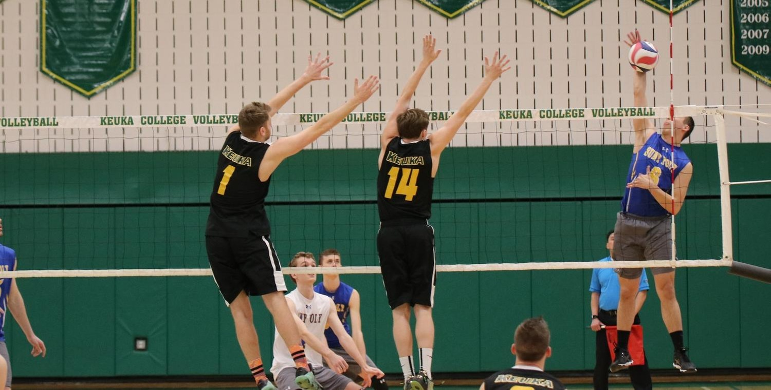 Christian Nickerson (1) had a pair of blocks for Keuka College on Friday
