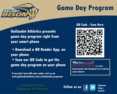 Gallaudet Sports Information debuts QR code for Game Day Programs
