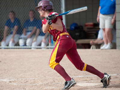 Junior left fielder Stephanie Dusendang singled in one of Ferris State's two runs in the loss to Mount Olive.