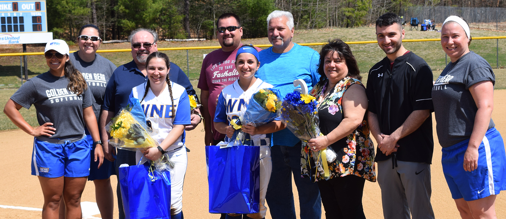 Western New England honored seniors Ashley Rivest and Giovanna Russo before the start of Saturday's doubleheader against Salve Regina. (Photo by Rachael Margossian)