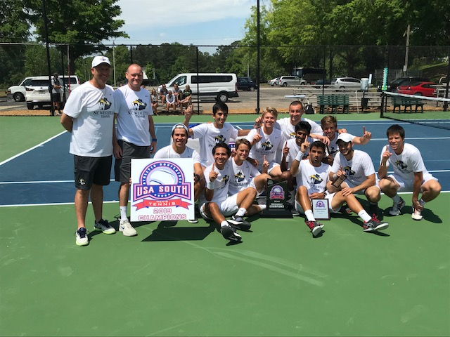 Men's Tennis Outplay Methodist for 11th straight USA South Title