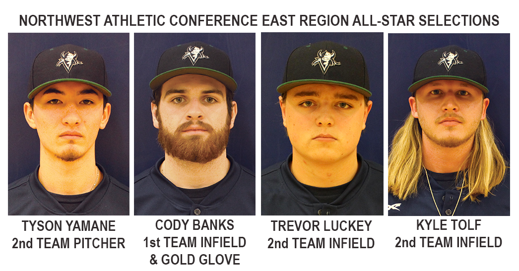 Tyson Yamane, Cody Banks, Trevor Luckey, and Kyle Tolf were all named to the 2018 East Region All-Star team by the Northwest Athletic Conference.
