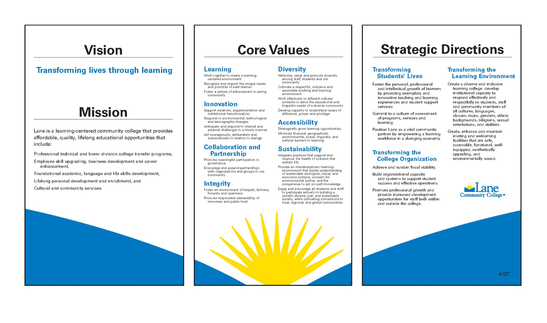 Lane Community College Vision Statement
