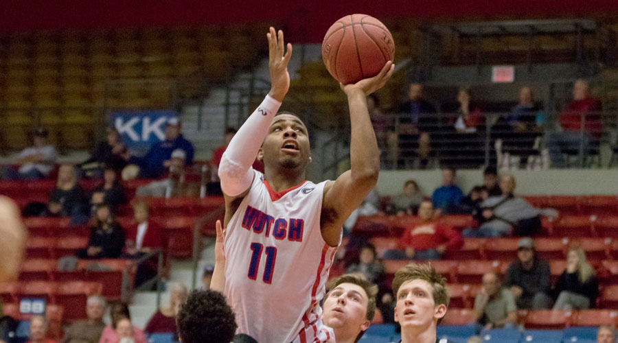 J.J. Rhymes scored 28 points and reached the 1,000 career-point mark in the No. 12 Blue Dragons' 104-84 victory over Pratt on Wednesday at the Sports Arena. (Allie Schweizer/Blue Dragon Sports Information)