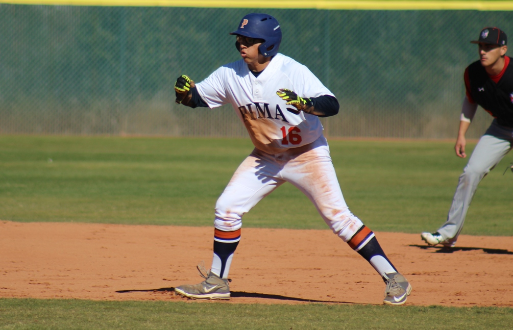Freshman Rafael Padilla (Nogales) hit a three-run homerun in the second game to help the Aztecs earn a split at Scottsdale Community College. The Aztecs are 9-3 overall and 1-1 in ACCAC conference play. Photo by Rene Escobar/AztecPress