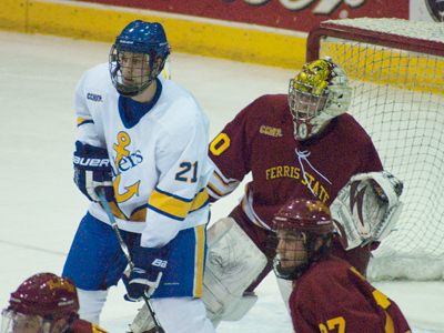 Pat Nagle's 24 saves helps Ferris State hold on for a 2-1 win at Lake Superior State.  (Photo by Joe Gorby)