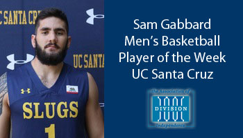 Gabbard receives Association of Division III Independents men's basketball Player of the Week award