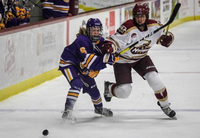 Carly Menges women's hockey action vs. Elmira College