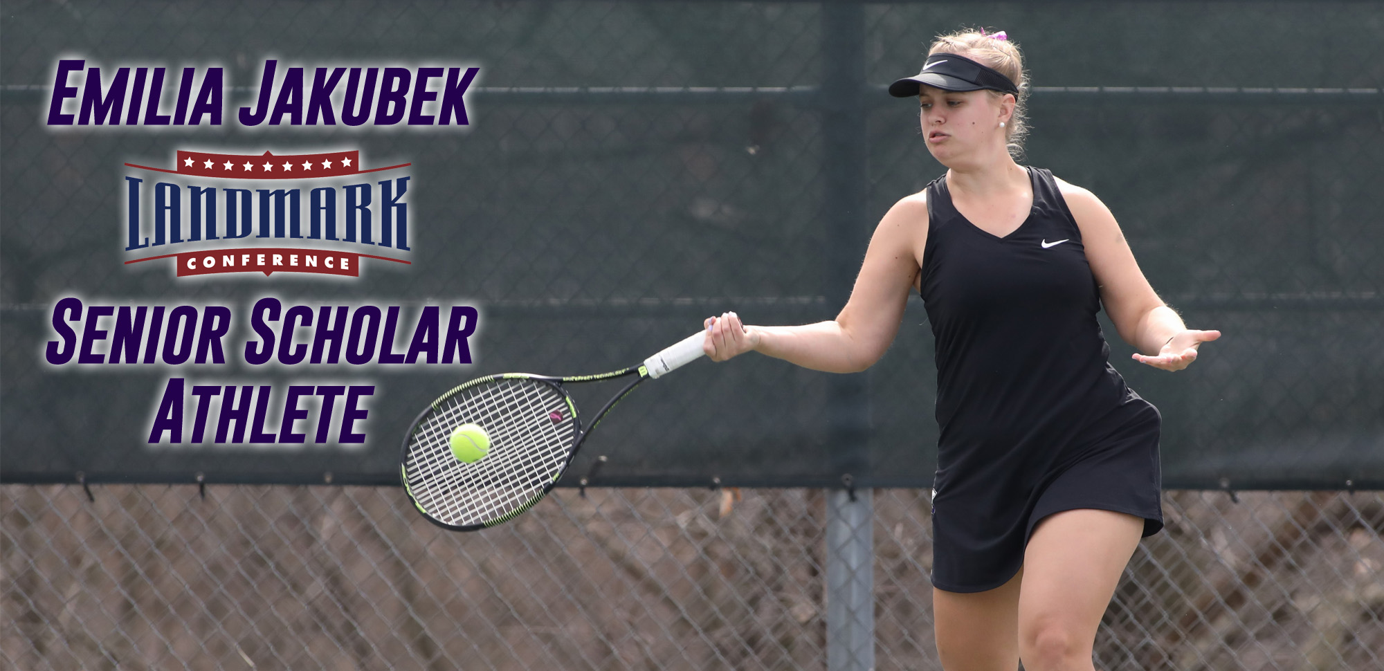Senior Emilia Jakubek was honored as the Landmark Conference Senior Scholar Athlete for women's tennis on Thursday. © Photo by Timothy R. Dougherty / doubleeaglephotography.com