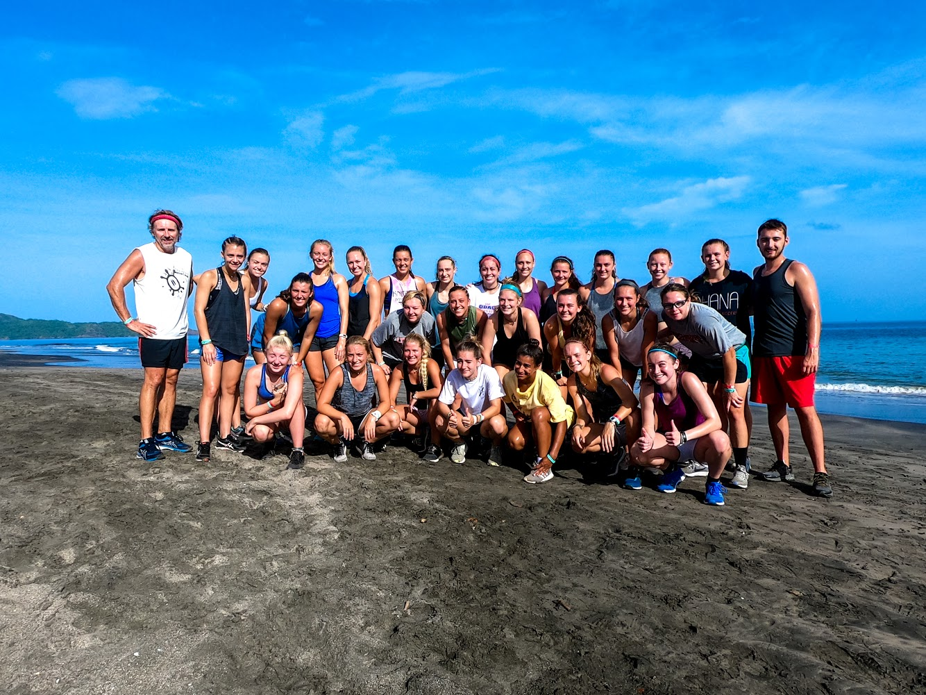 Photo of soccer team on a beach in Costa Rica