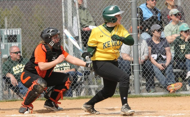 Maddie Dupuis (13) had a career-high 3 hits in Game 2 against SUNY Cobleskill on Sunday -- Photo by Ed Webber