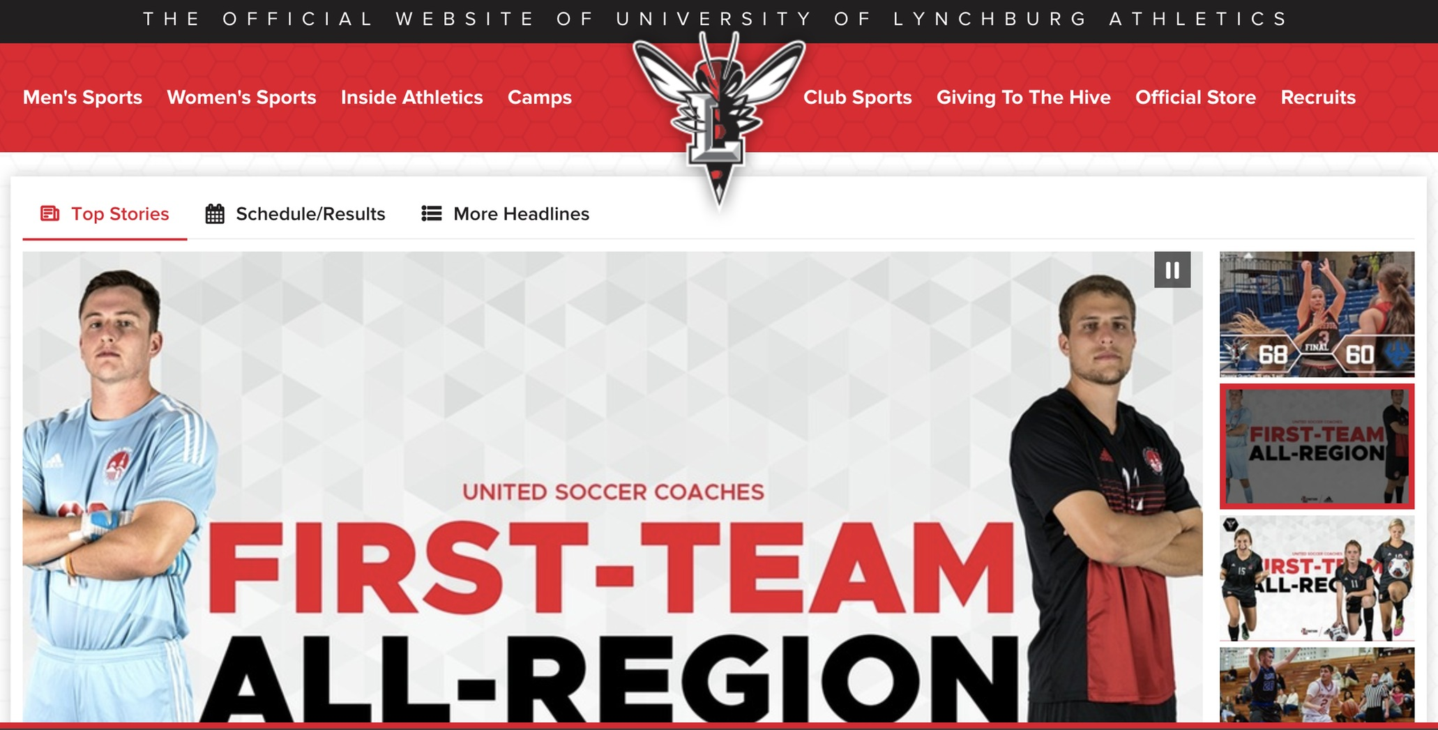 Screencaptured image of LynchburgSports.com web redesign showing men's soccer headline at center.