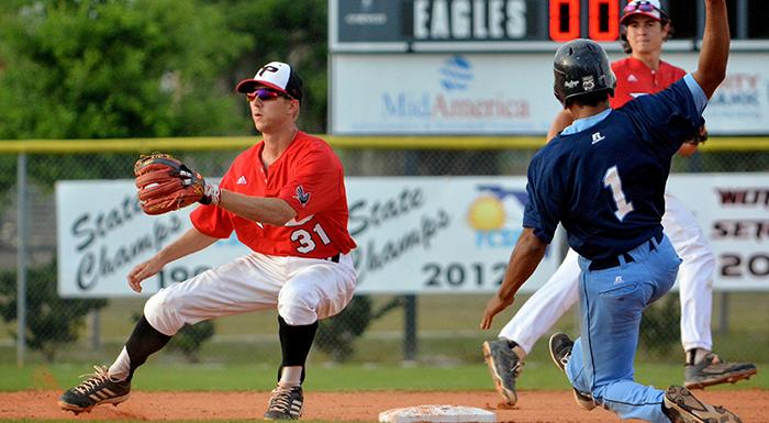 Cody Burgess (left) made the 2015 Florida Collegiate Summer League all-star team along with former Eagles Matt Piatt and Jose Pupo. (Photo by Tom Hagerty, Polk State.)