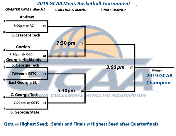 2019 GCAA MBB Tournament Schedule