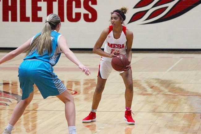 Mesa's Diamond Fuller set a career high in points with 22 Wednesday night vs Chandler-Gilbert. (Photo by Aaron Webster)