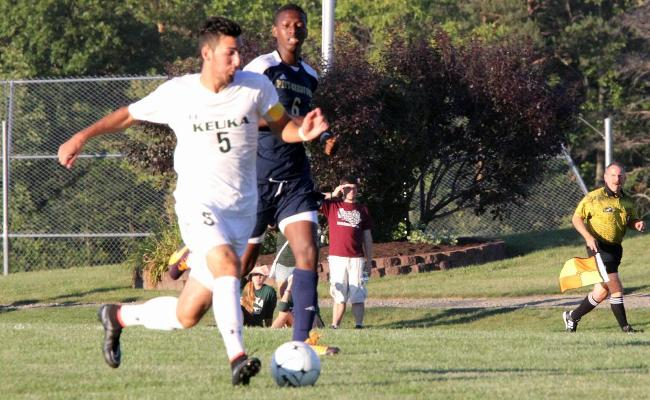 Senior Austin Gerber scored four goals and added an assist to power the Keuka College men's soccer team to an 8-0 win over D'Youville College Saturday (photo courtesy of Ed Webber, Keuka College Sports Information Department).