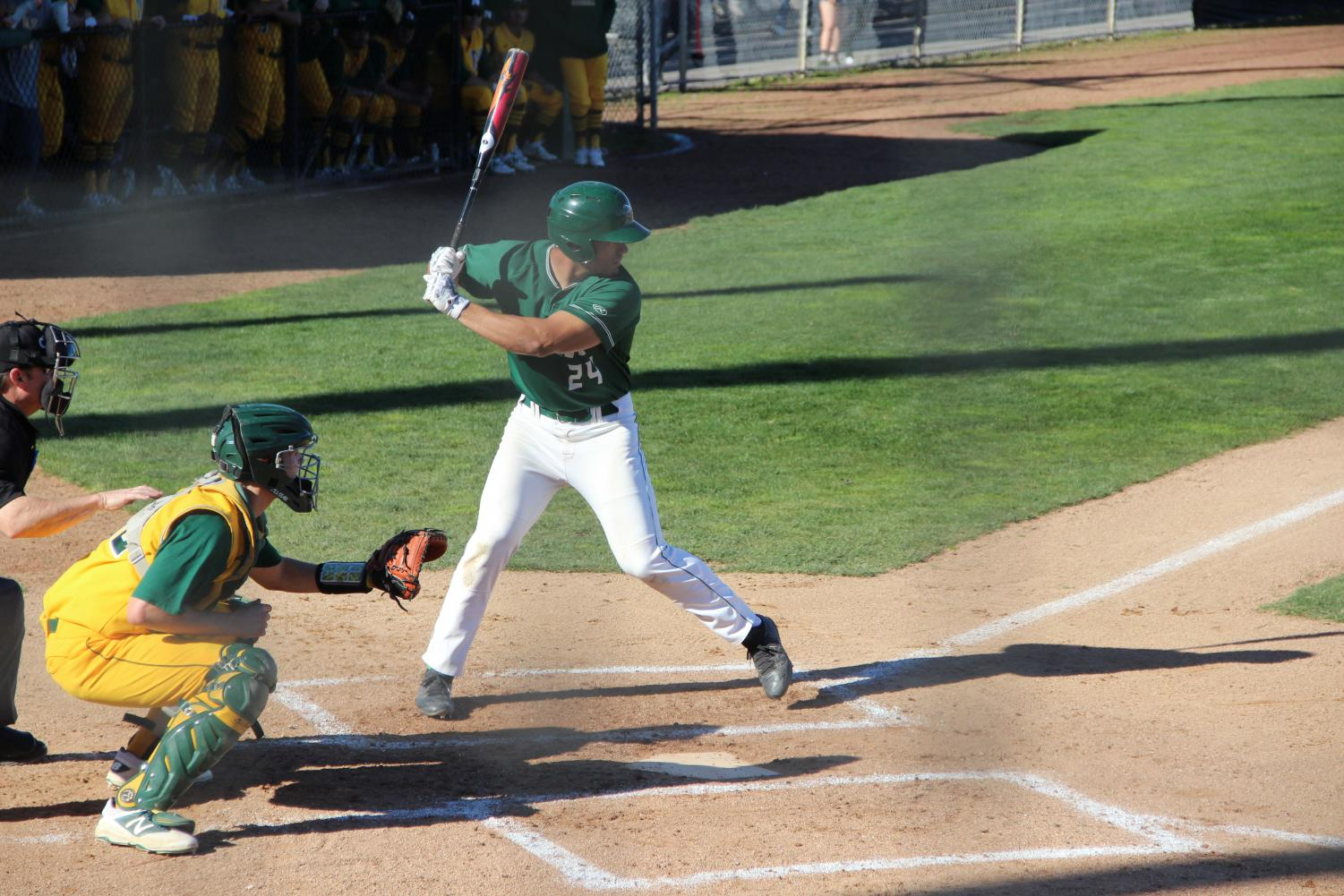 Catcher John Anthon bats in the first inning against Napa Valley College at Diablo Valley College in Pleasant Hill, California on February 6, 2018. | Photo by Luis Lopez