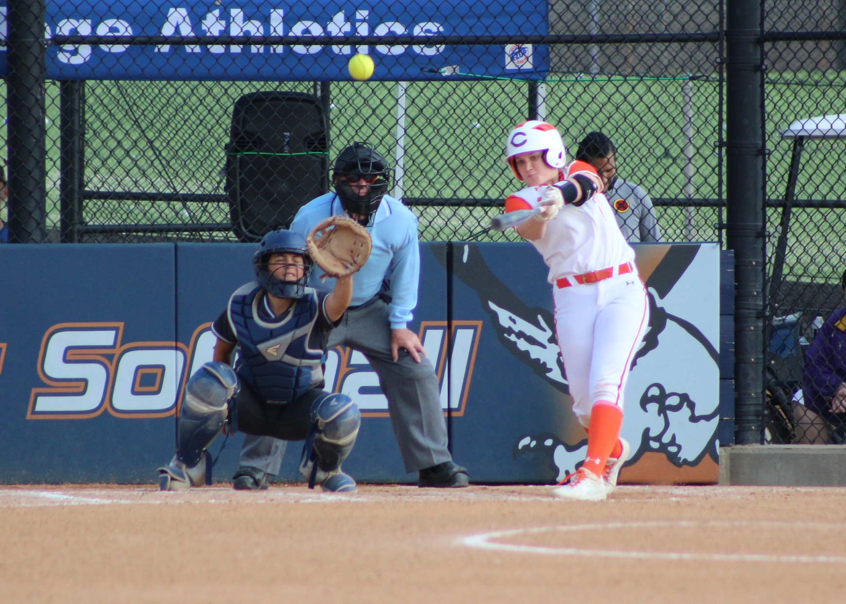 Megan Jones gets ahold of her pitch and drives a ball to deep right center. Image: Treyvon Watts-Hale