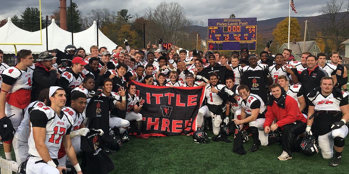 Wesleyan Wins Little Three Title; Cruises to 59-14 Rout Over Williams