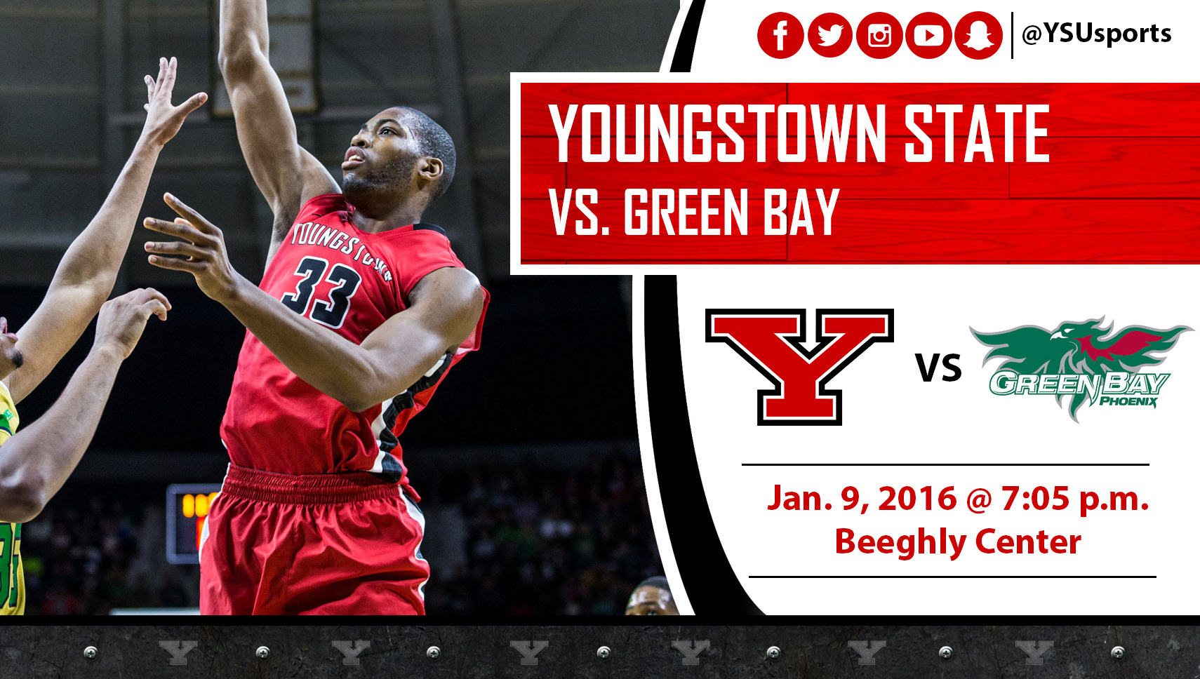 Men's Basketball Hosts Green Bay Saturday Night at Beeghly