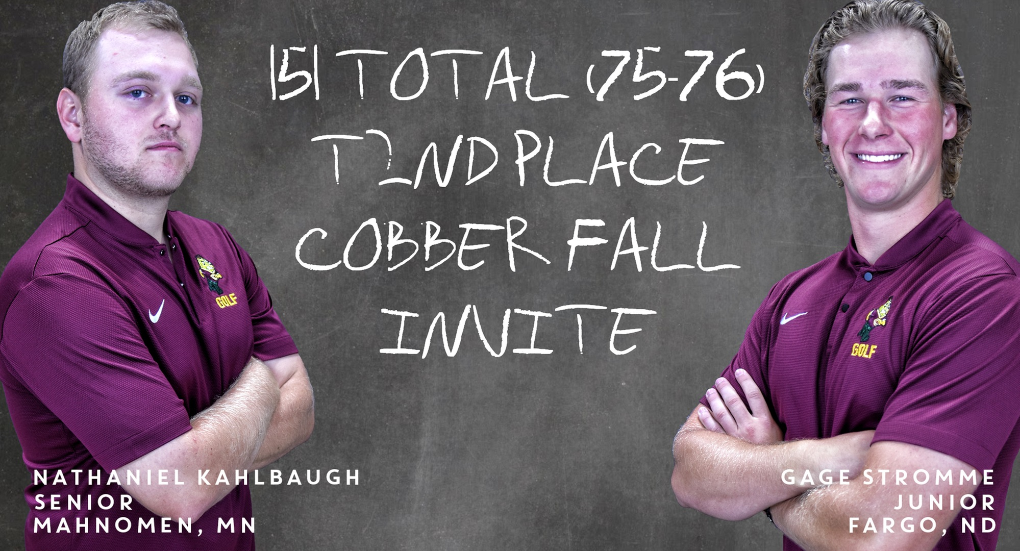 Nathaniel Kahlbaugh (L) and Gage Stromme finished in a tie for second place at the Cobber Fall Invite.