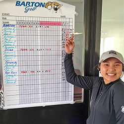 Barton women's golfer Mutita Booranakunamanee after winning the Coffeyville Invitational held at the Emporia Golf Course in Emporia, KS.