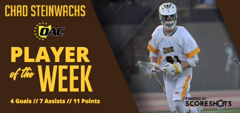 Steinwachs Garners First Career OAC Men's Lacrosse Weekly Accolade