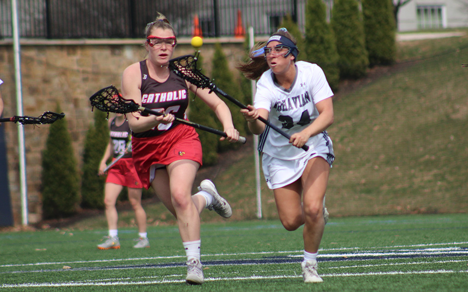 Senior Jillian Picciuto comes up with a draw control on John Makuvek Field versus No. 10 The Catholic University of America.