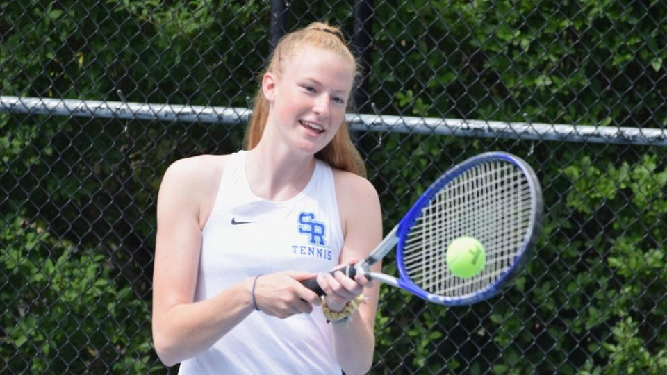 Casey Farrell came back to win at No. 3 singles in a non-league match versus Eastern Nazarene (Photo by Ed Habershaw).