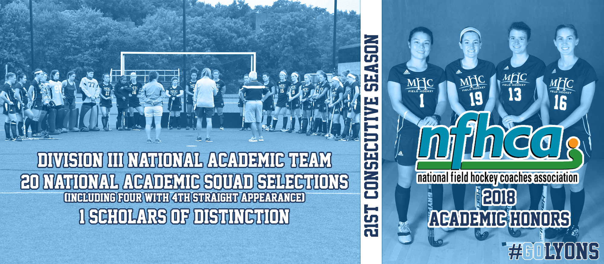 Graphic honoring the 2018 Lyons Field Hockey team as they were recognized as NFHCA National Academic Team.