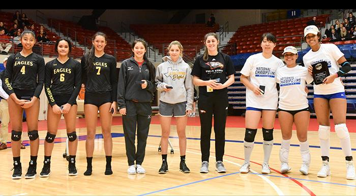 Anilise Fitzi (fourth from right) and the All-Tournament Team receive on-court recognition at the national volleyball championship tournament. (Photo by Tom Hagerty, Polk State.)