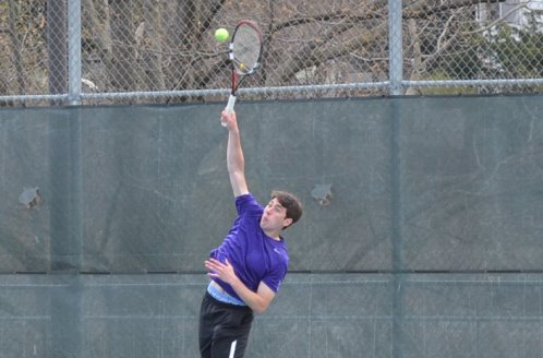 Senior Mike Pannone picked up a point with a win at the number four singles today against Drew University in the championship match of the Landmark Conference tournament at the Royal Courts.  The Royals overcame a 3-0 deficit after doubles, but the Rangers hung on to win their sixth straight Landmark title.